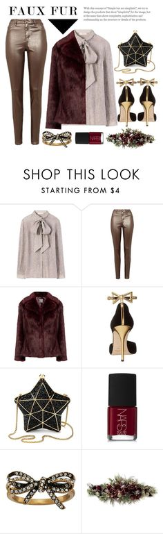 """""""metallic & faux fur"""" by dotty-28 ❤ liked on Polyvore featuring Tory Burch, Oscar de la Renta, Aspinal of London, NARS Cosmetics, Marc Jacobs, Frontgate, contest, party, metallic and fauxfur"""