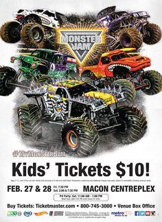 Monster Jam Coming to the Macon Centreplex Monster Truck Jam, Kids Events