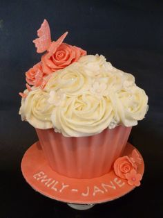 Giant butterfly rose cupcake