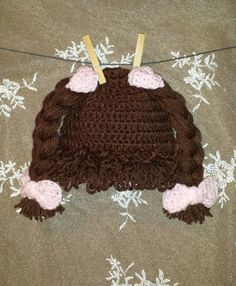 Brunette Cabbage Patch Wig Hat With 4 Attached by AdairToCrochet