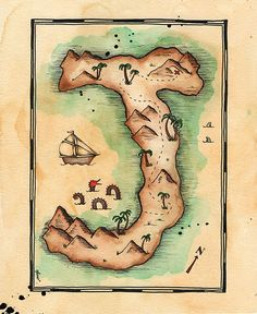 Letter J Treasure Map / 8 x 10 Archival Print /