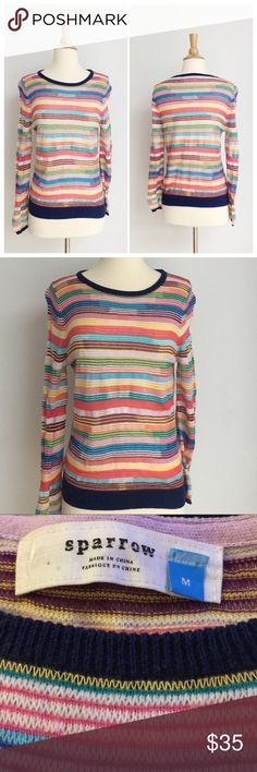 ⭐️Like New⭐️ Anthropologie Rainbow Sweater Sweater has been gently worn but in like new condition. The bust measurement is approximately 17 inches across from armpit to armpit, and the length is approximately 25 inches. The fabric content is 50% cotton 31% spun rayon 8% viscose 4% lambswool and 1% cashmere. Anthropologie Sweaters Crew & Scoop Necks