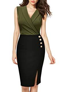 online shopping for MissMay Women's Workwear Business Lapel Sleeveless Cocktail Party Pencil Dress from top store. See new offer for MissMay Women's Workwear Business Lapel Sleeveless Cocktail Party Pencil Dress Best Work Dresses, Women's Dresses, Fashion Dresses, Sheath Dresses, Pencil Dresses, Mode Kimono, Older Women Fashion, Looks Chic, Different Dresses