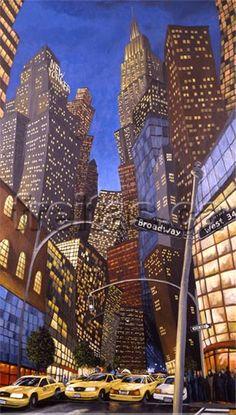 "Freitas art, ""Big Cty Lights"", painting of New York city"