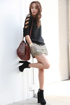 deconstructed black sweater top leopard shorts black boots brown leather studded purse  ashley madekwe #revenge #fashion