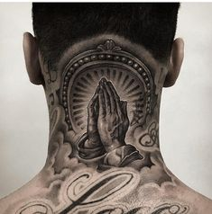 women back tattoos spine Chicano Tattoos, Dope Tattoos, Head Tattoos, Body Art Tattoos, 13 Tattoos, Religious Tattoo Sleeves, Religious Tattoos, Neck Tattoo For Guys, Tattoos For Guys