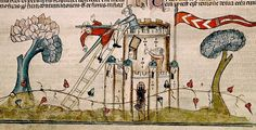 Attacking castle. margin. France 13-14th cent. BL by tony harrison, via Flickr