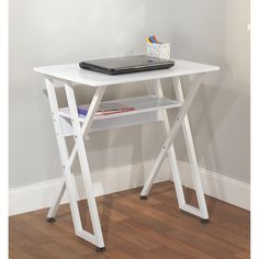 simple living white computer desk with shelf by simple living - Computer Desk For Small Spaces