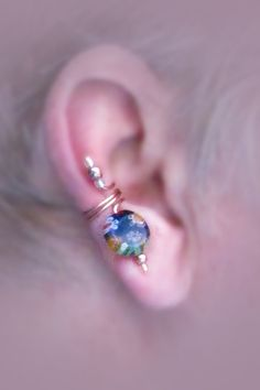 Ear cuff pair with lampwork bead disc by thelazyleopard on Etsy, $15.00