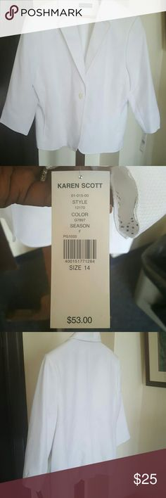 Beautiful Karen Scott Blazer Fabulous white size 14 Karen Scott Blazer Karen Scott Jackets & Coats Blazers