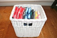 for all of us that have a ton of these .How to organize your collection of reusable shopping bags. Via Modern Parents Messy Kids Gift Bag Organization, Kitchen Organization, Organization Hacks, Organizing Ideas, Gift Bag Storage, Organization Station, Smart Storage, Organising, Reusable Shopping Bags