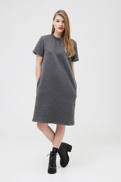 Oversized Midi T-Shirt Dress Grey - THE WHITEPEPPER
