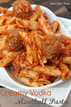 Creamy Vodka Meatball Pasta ~ Hearty pasta casserole full of savory meatballs and smothered in a creamy vodka sauce! via www.julieseatsandtreats.com