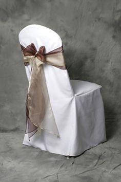 White chair covers, purple sashes at blue tablecloth tables, blue sashes at purple tablecloth tables Wedding Chair Sashes, Wedding Linens, Wedding Chairs, Cheap Chair Covers, White Chair Covers, Chair Cover Rentals, Salon Interior Design, Linen Rentals