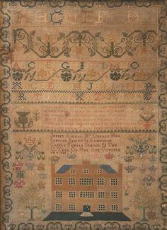5 Pretty Embroidery Samplers 1900 Ca