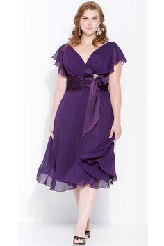 Plum Chiffon Dress Tea Length With V-Neckline Short Sleeves (Size 14W to 24W)