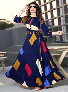 Blue Reyon Cotton With Block Printed Anarkali Floor Length Kurti Stylish Dresses, Simple Dresses, Fashion Dresses, Kurta Designs Women, Blouse Designs, Latest Kurti Designs, Kurti Patterns Latest, Long Kurti Patterns, Pakistani Dresses