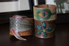 Custom handmade leather cuff bracelet by LacieAlgeoDesigns on Etsy