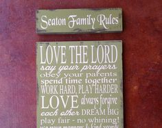 Family Values Wood Sign  House Rules  by FussyMussyDesigns on Etsy