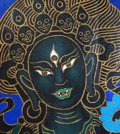 detail of Tara thangka by Jack Niland, Acrylic on canvas // via The Chronicles of Chögyam Trungpa Rinpoche Tara Goddess, Black Goddess, Tibetan Art, Tibetan Buddhism, Tantra, Kali Ma, Sacred Art, Gods And Goddesses, Archetypes