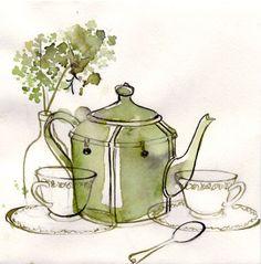 Green Teapot #watercolor #nooneyart