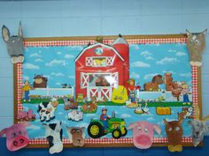 2nd grade bulletin bd!  Happy Farm in Spring! The kids made farm animal faces using pastel chalks!