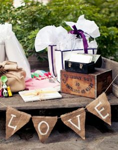 gift table idea with Miranda's name instead of love