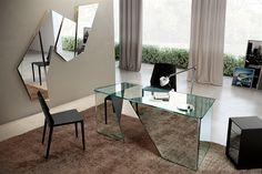 Fiam Italia Scribe Desks Glass 65Wx73Hx140CM / Fiam Italia Collection at www.mayfairhomefurniture.com
