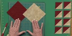 Simple Formula Produces Finished Half Square Triangles in Any Size! Half square triangles are used nearly as often in quilt designs as squares are. Therefore it will save you a lot of time to find a technique for making them that consistently works well for you. Beginning quilters often cut triangles and stitch them together. …