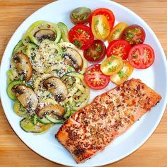 """(@bake_sugarfree) on Instagram: """"This delicious Parmesan crusted salmon with zucchini and mushroom pasta and tomato salad makes the…"""""""