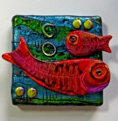 a Mused Studio: More Little Canvases Fimo Clay, Polymer Clay Art, Polymer Clay Jewelry, Clay Art Projects, Clay Crafts, Clay Classes, Clay Wall Art, Polymer Clay Creations, Air Dry Clay
