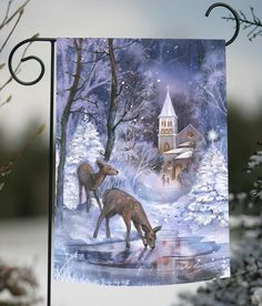 NEW Toland - Frozen Fawns - Winter Christmas Church Snow Pond Deer Garden Flag #TolandHomeGarden