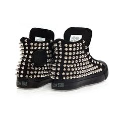 Holiday Promotion, Studded Converse, Silver Studs with converse All... ($105) ❤ liked on Polyvore featuring shoes, sneakers, converse, footwear, sapatos, black high top sneakers, black hi top sneakers, hi low tops, black evening shoes ve silver high top sneakers