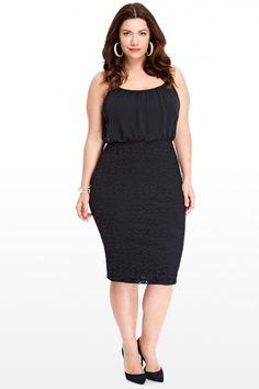 Plus Size Chiffon Top Dress With Lace Bottom | Fashion To Figure