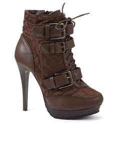 Truffle (Brown) Brown Quilted Lace Up Buckle Ankle Boots    241885424   New Look