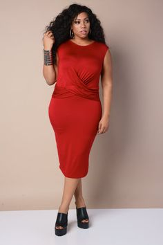 Plus Size Midi Dress Red
