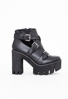 Misguided - DANNI CLEATED SOLE BUCKLE BOOTS BLACK