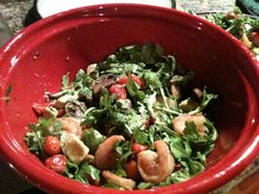 Shrimp and Avocado Salad Over Arugula