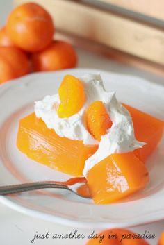 Orange Dream Jello Dessert, ingredients include Jello Cook and Serve  Lemon Pudding and Pie Filling