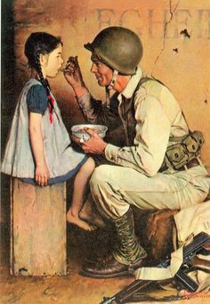 Giclee Print: The American Way (or Soldier Feeding Girl) by Norman Rockwell : Norman Rockwell Prints, Norman Rockwell Paintings, Penguin Books, Peintures Norman Rockwell, Norman Rockwell Christmas, Jc Leyendecker, Horrible Histories, Arte Country, Beautiful Drawings
