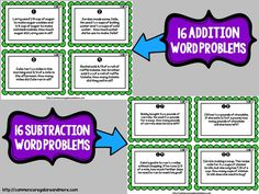 32 fraction task cards (16 addition word problem cards and 16 subtraction word problem cards)