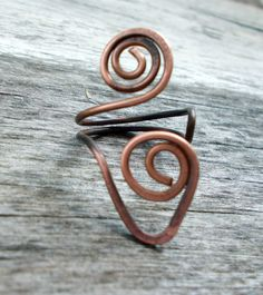Wire Wrapped Adjustable Copper Ring,  - wire wrapped ring handmade - pinned by pin4etsy.com