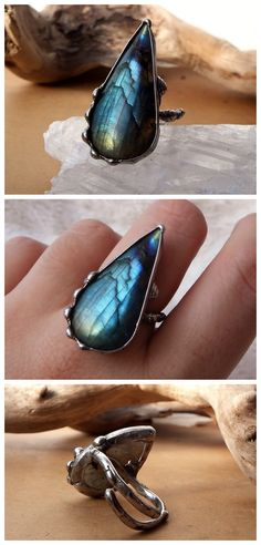 Labradorite drop ring by Alice Savage. Handmade, soft solder, tiffany, adjustable size, crystal healing, magic, witch, blue, bohemian, style