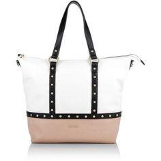 LIU JO Shopping Bag IO White/Nude in beige, white, black, Handle Bags (1 885 ZAR) ❤ liked on Polyvore featuring bags, zip handle bags, handle shopping bags, studded bag, shopper handbags and logo bags