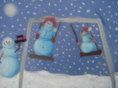 Snowmen at Night - using pastel chalk, lots of kids examples on this site, kids are taught how to draw and shade the snowman, then imagine and draw what the snowmen do at night.