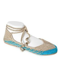 bac84f997559 Love this Sand  amp  Turquoise Ankle-Strap Seaview Flat by Painted Bird on