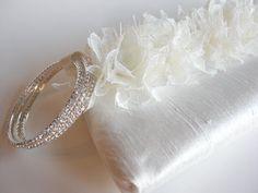 white clutch purse handmade wedding bags by KeepBags