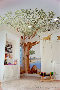 Safari Playroom Mural, acrylic on wallboard, private residence. © Peter K. Engelsmann I don't care for the lions, but I love all the trim work & this tree!!!