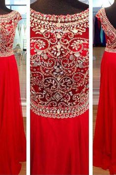 Custom Made A Line Round Neck Red Long Prom Dresses, Long Evening Dresses, Formal Dresses