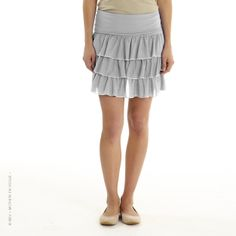 MEV - Mothers en Vogue - Alessandra Skirt - Flirty and fun, who would guess this is a maternity bottom! Cascading layers begin only at hips which is forgiving to the growing belly.   Relaxed fit. Constructed with a jersey knit waistband that can be pulled up over the belly or rolled down to sit on the hips.  #mothersenvogue #nursing #maternity #fashion #style